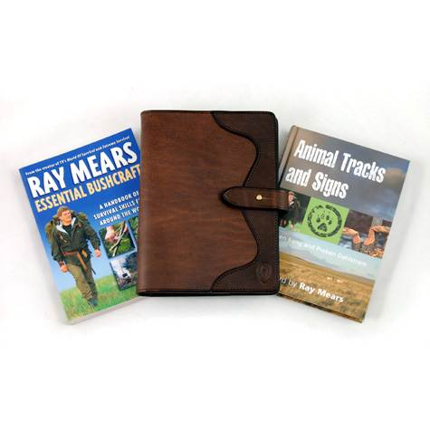 Ray Mears Leather Book Cover Plus Essential Bushcraft