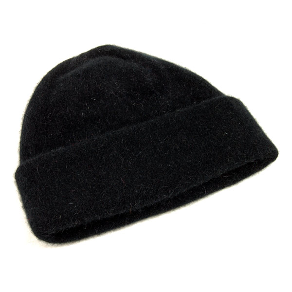 Possum and Merino Beanie Hat - Black (Click for full size)