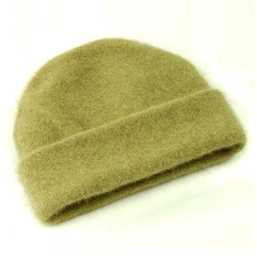 Possum and Merino Beanie Hat - Moss (Click for full size)