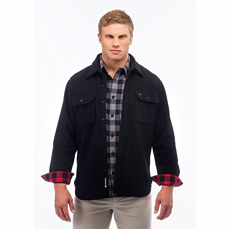 Swanndri Islington Wool Overshirt - Black (Click for full size)