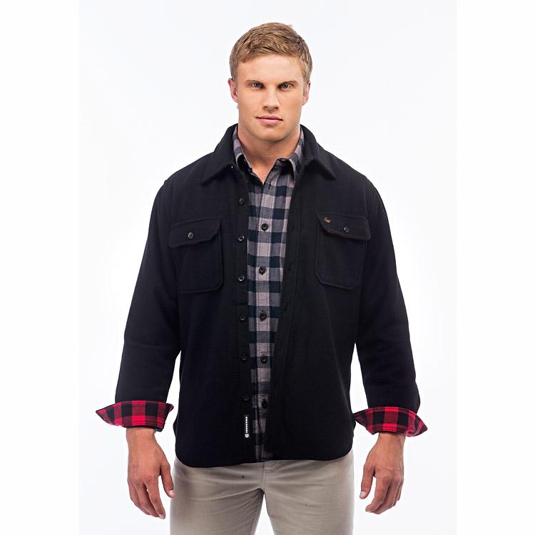 Swanndri Islington Wool Overshirt - Black